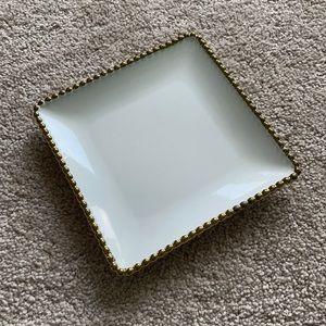 """Square White Dish with Gold Border 6.5"""""""